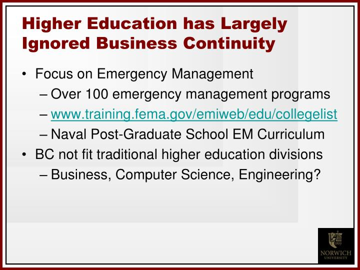 Higher education has largely ignored business continuity