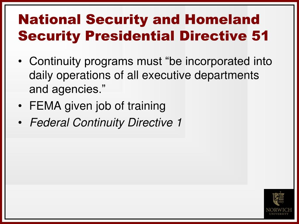 National Security and Homeland Security Presidential Directive 51
