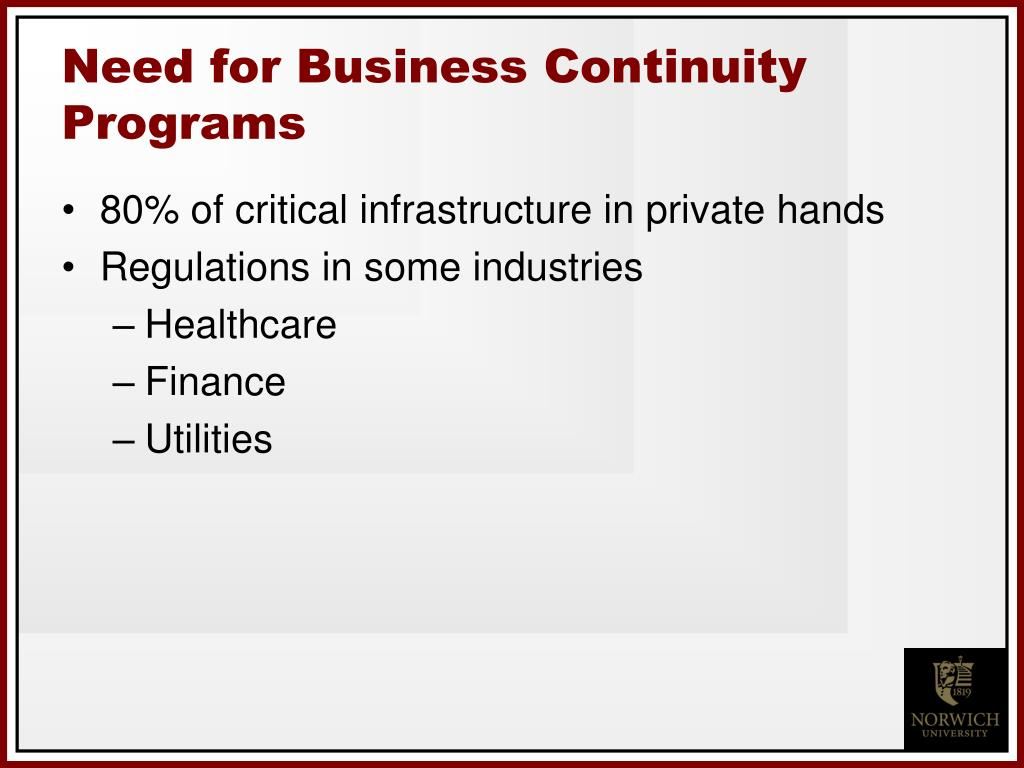 Need for Business Continuity Programs