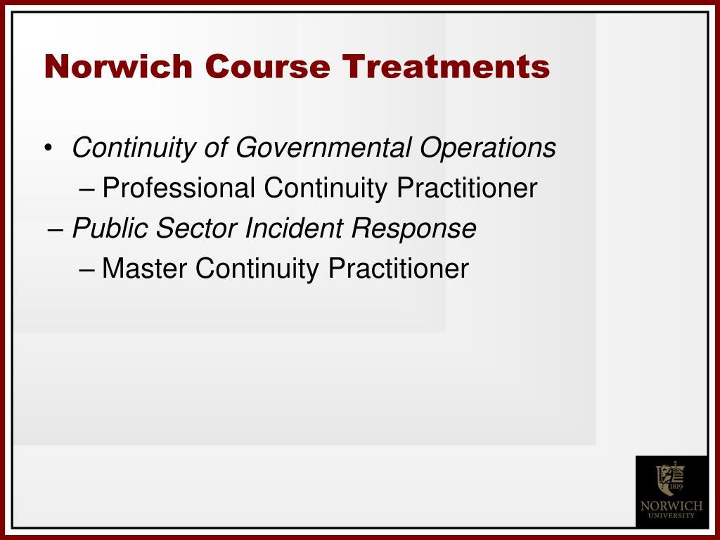 Norwich Course Treatments
