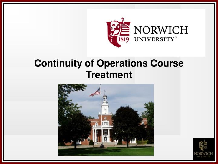 Continuity of Operations Course Treatment