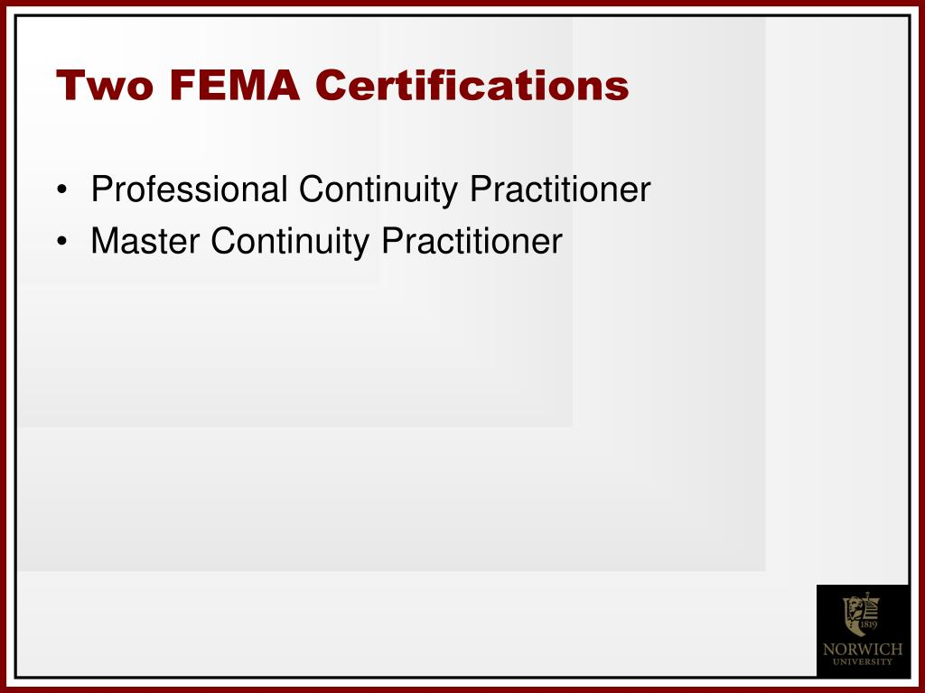 Two FEMA Certifications