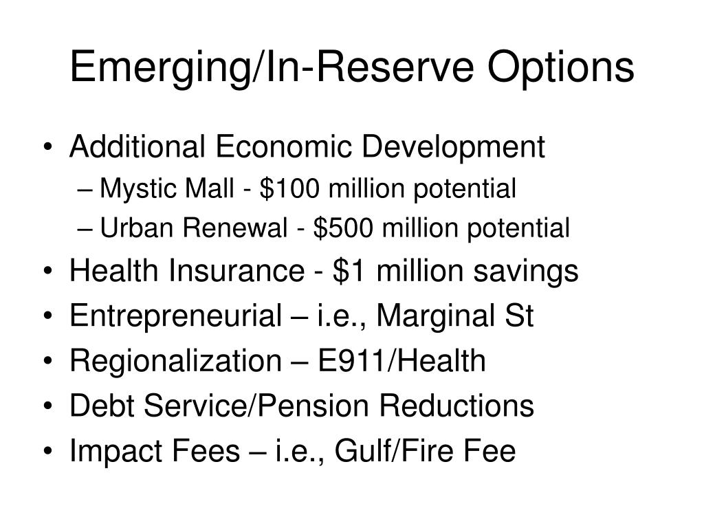 Emerging/In-Reserve Options