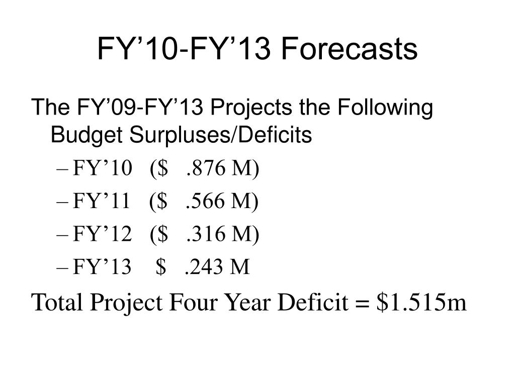 FY'10-FY'13 Forecasts