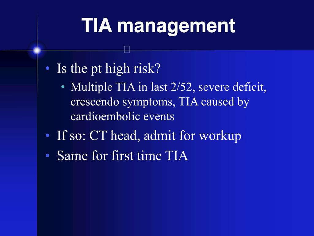 TIA management
