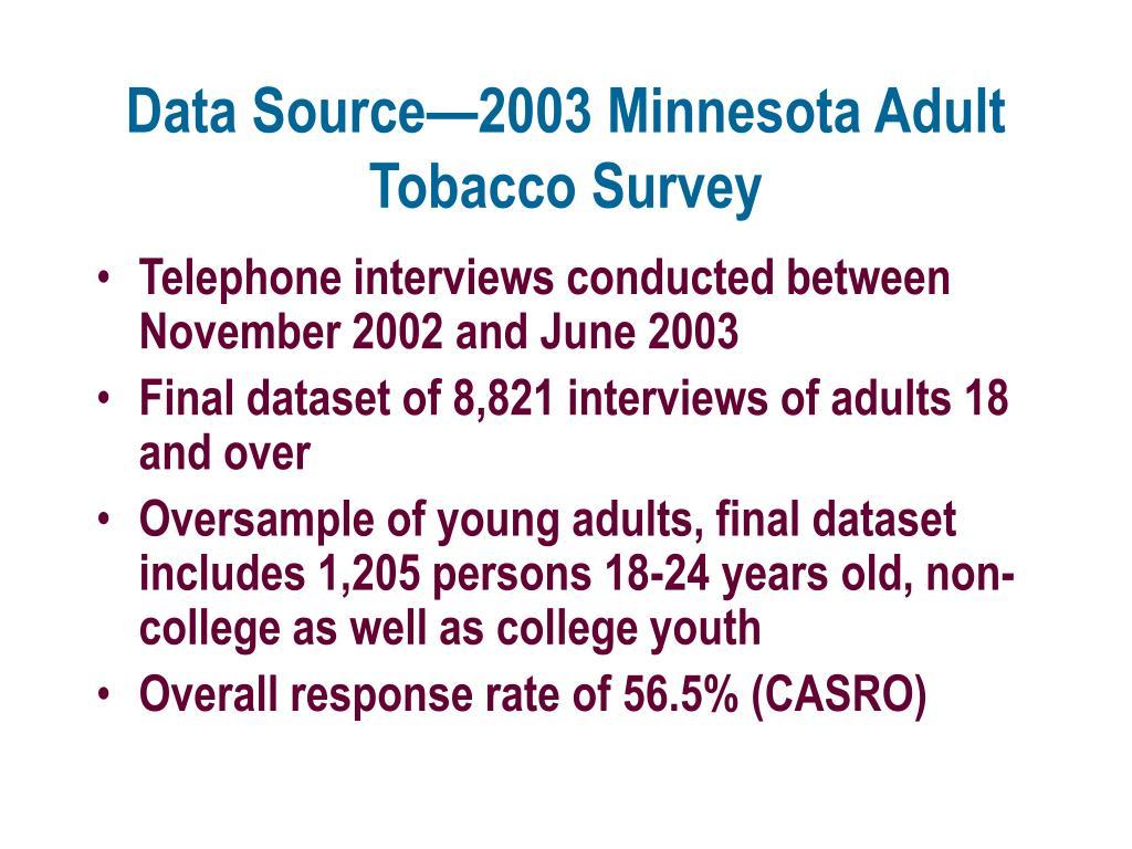 Data Source—2003 Minnesota Adult Tobacco Survey