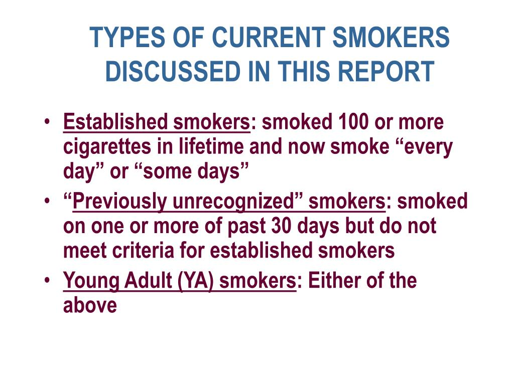 TYPES OF CURRENT SMOKERS DISCUSSED IN THIS REPORT