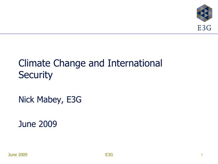 climate change and international security n.