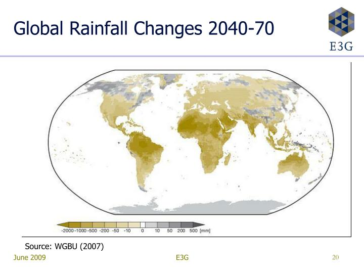 Global Rainfall Changes 2040-70