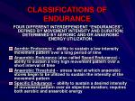 classifications of endurance