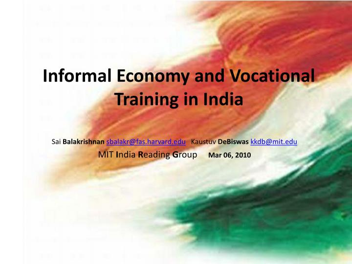 informal economy and vocational training in india n.