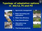 typology of adaptation options in ag li fi and fo