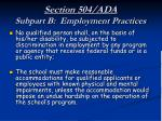 section 504 ada subpart b employment practices