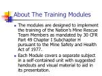about the training modules