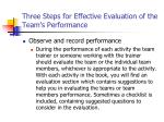 three steps for effective evaluation of the team s performance