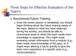 three steps for effective evaluation of the team s19