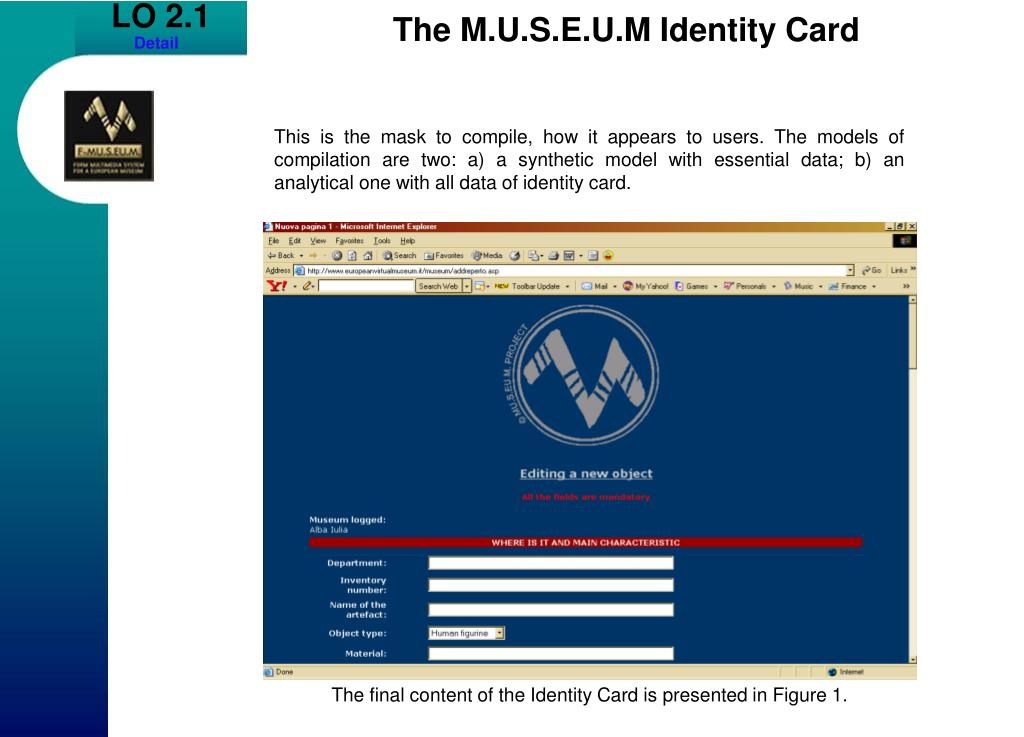 The final content of the Identity Card is presented in Figure 1.