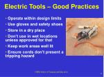electric tools good practices