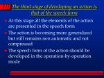 the third stage of developing an action is that of the speech form