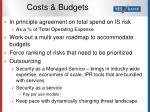 costs budgets