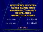 how often is every coast guard unit required to have a compliance inspection done