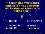 if a ship has two masts where is the cg ensign flown during periods of dress ship
