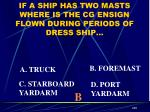 if a ship has two masts where is the cg ensign flown during periods of dress ship1