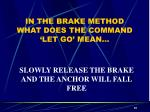 in the brake method what does the command let go mean