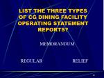 list the three types of cg dining facility operating statement reports