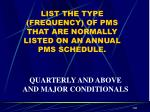 list the type frequency of pms that are normally listed on an annual pms schedule