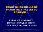 range rings should be drawn from the let go position