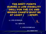 the shift points during a low visibility drill for the cic and bridge charts must be at least apart