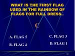 what is the first flag used in the rainbow of flags for full dress