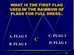 what is the first flag used in the rainbow of flags for full dress1
