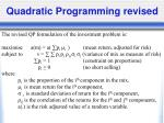 quadratic programming revised