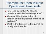 example for open issues operational time scale