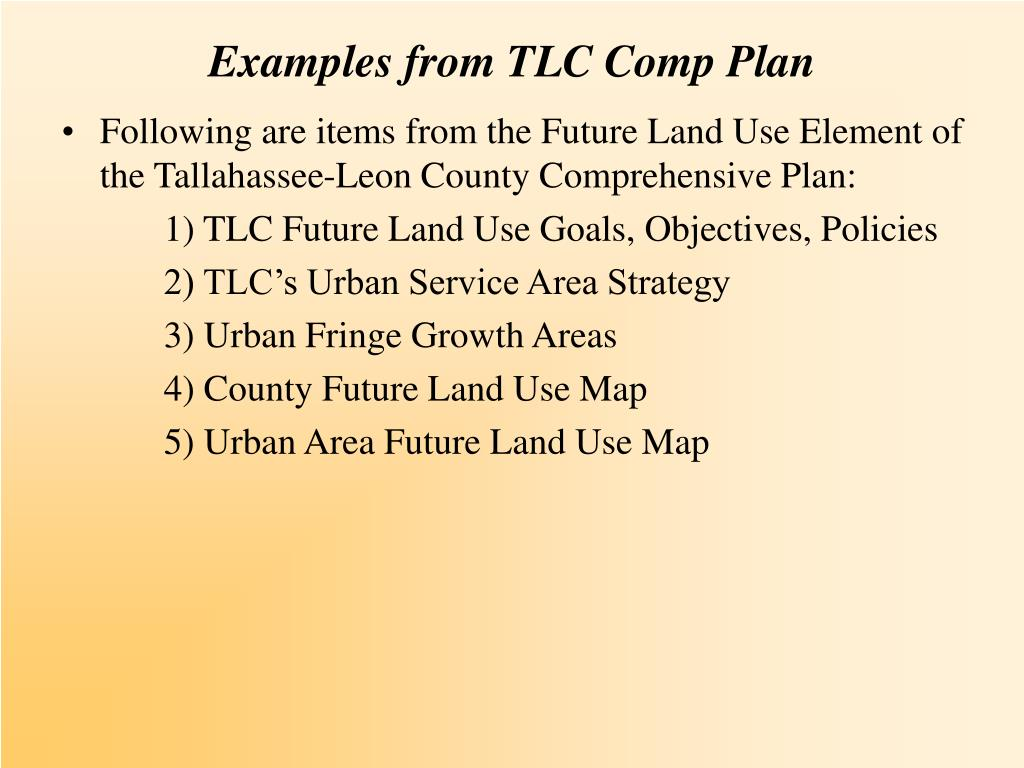 Examples from TLC Comp Plan