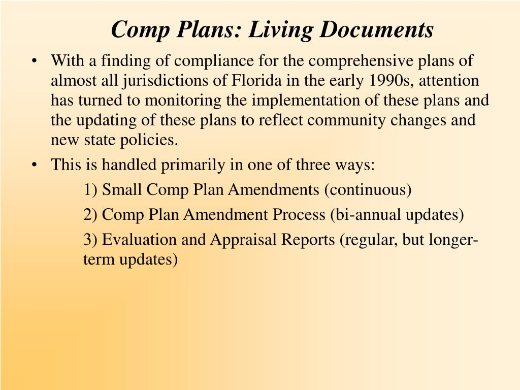 Comp Plans: Living Documents