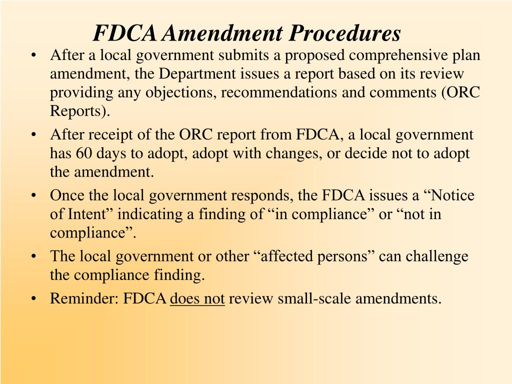 FDCA Amendment Procedures