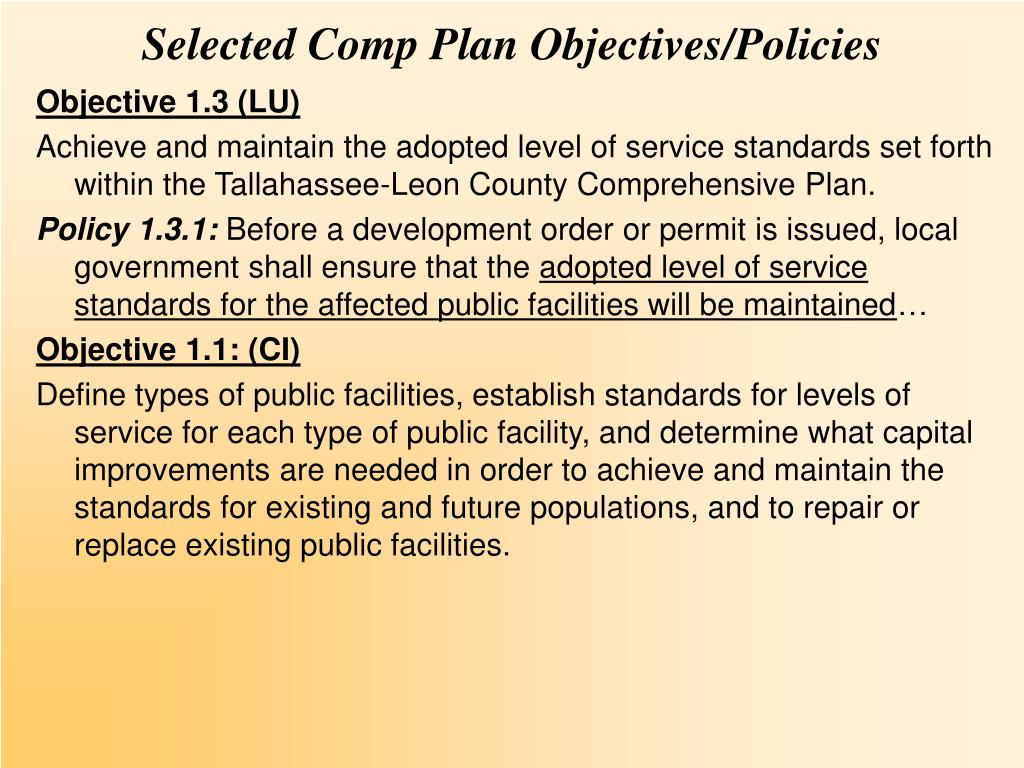 Selected Comp Plan Objectives/Policies