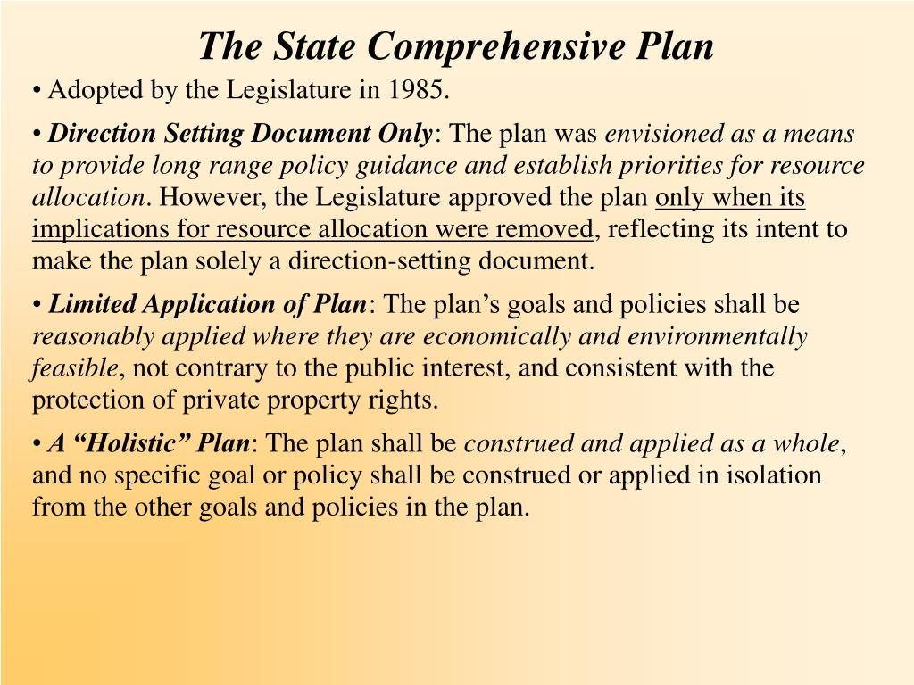 The State Comprehensive Plan