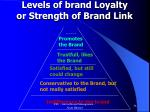levels of brand loyalty or strength of brand link
