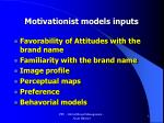 motivationist models inputs