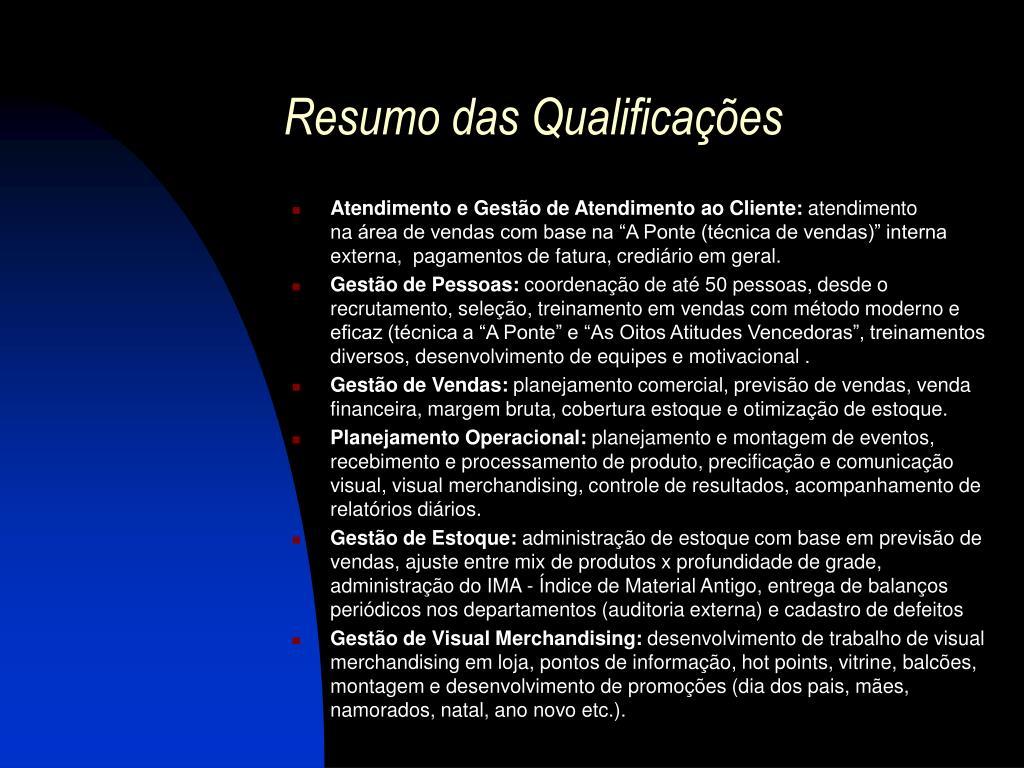 Resumo das Qualificações