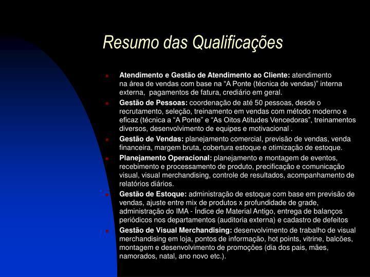 Resumo das qualifica es