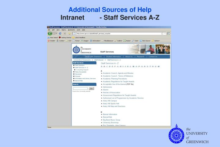 Additional sources of help intranet staff services a z