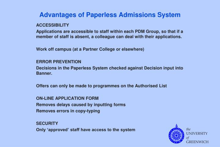 Advantages of Paperless Admissions System