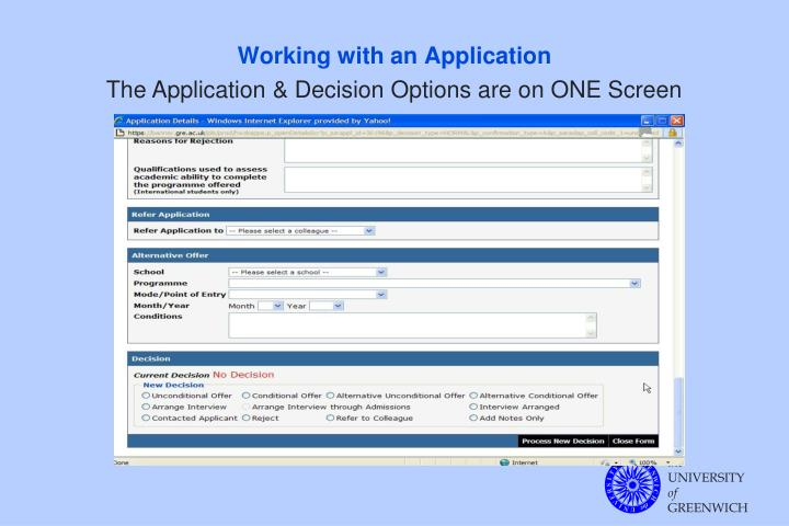 Working with an Application