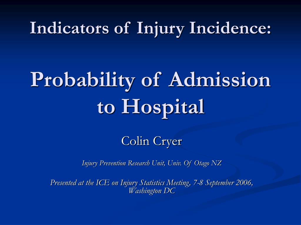 Indicators of Injury Incidence: