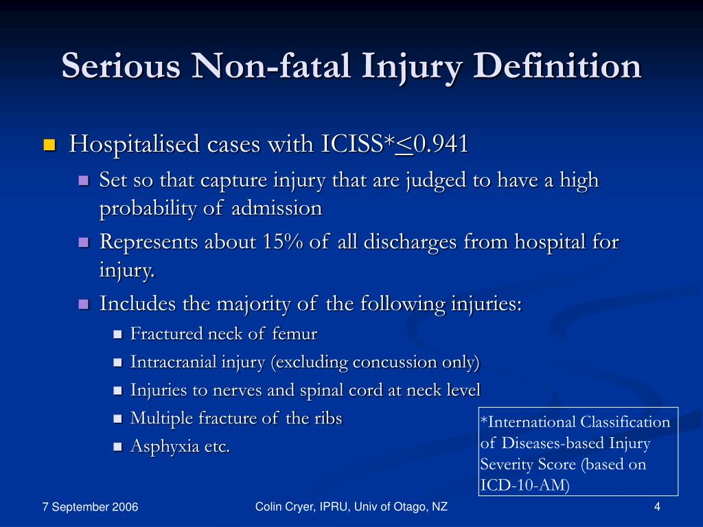 Serious Non-fatal Injury Definition